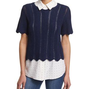 NWT Frame Denim Mako Boxy Knit Scalloped Sweater L